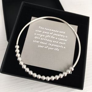 18th Birthday Handmade Silver Bead Bangle - bracelets & bangles