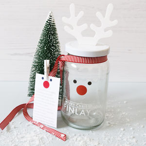 Personalised Decorate Your Own Rudolf Treat Jar - stocking fillers