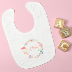 Personalised Floral Circle Bib - baby care