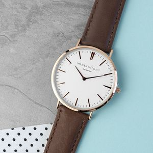 Personalised Men's Modern Vintage Leather Watch - watches