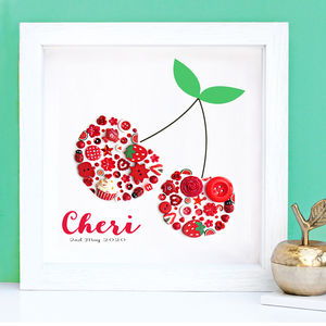 Personalised Cherry Framed Button Art