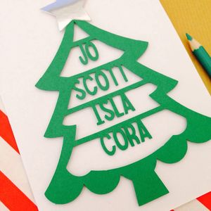 Personalised Family Christmas Tree Papercut Card - cards