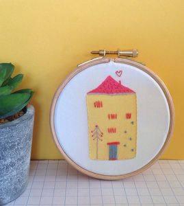 House Printed And Embroidered Hoop Art