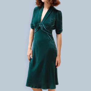 1940s Style Dress In Peacock Silk Velvet - dresses