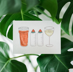 Beer, Bottle, Bottle And Wine - new baby cards