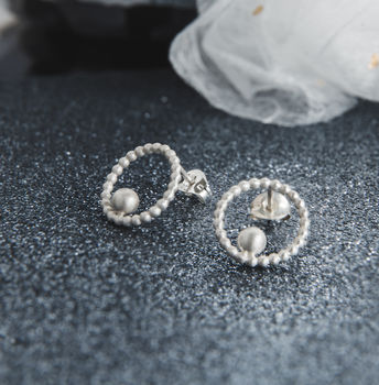 Silver Beaded Circle And Bead Studs