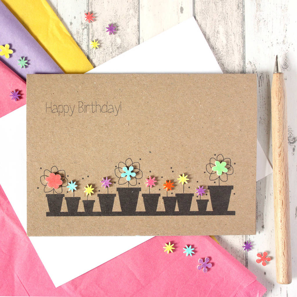 personalised flower pots \'happy birthday\' card by little ...