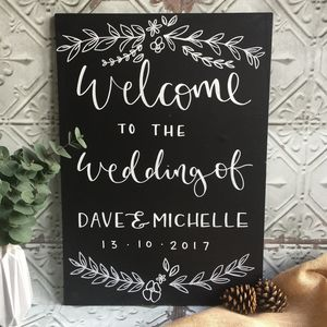 Personalised Wedding Welcome Floral Chalkboard