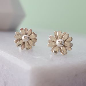 Sterling Silver Daisy Stud Earrings - earrings