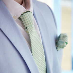 Mens Mint Green Gingham Tie