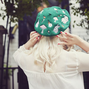 Woodland Embroidered Beret In Three Colours - head pieces