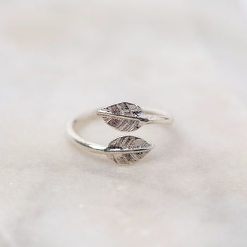 Double Leaf Sterling Silver Charm Ring