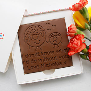 Personalised 'Donut What' Chocolate Card - novelty chocolates