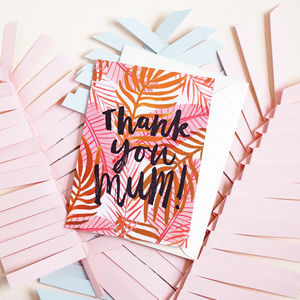 Thank You Mum Pink Palm Fronds Card A6 - wedding thank you gifts