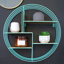 Round Turquoise And Brass Display Shelf