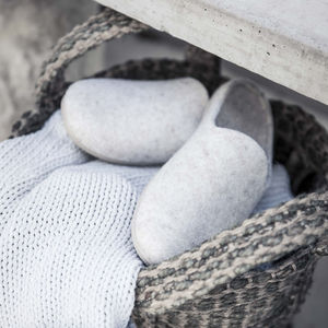 Felt Grey Slippers - women's fashion