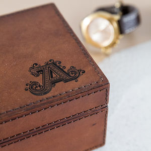 Personalised Initial Leather Watch Box Large