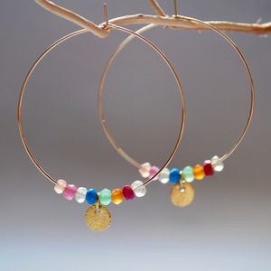 Mixed Gemstone Disc Hoop Earrings - earrings