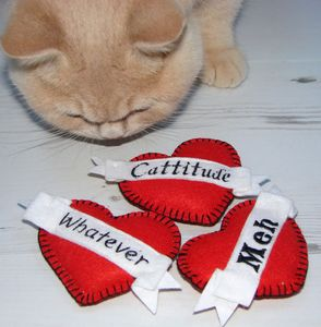 Catnip Cattitude Hearts Cat Toys Pack Of Three - gifts for pets