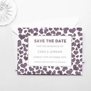 Marble Hearts Save The Dates - invitations