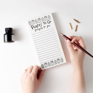 'Places To Go People To See' Letterpress List Pads