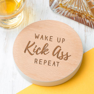 'Wake Up Kick Ass Repeat' Coloured Wooden Coaster - placemats & coasters