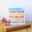 Mummy I've Loved You My Whole Life Card