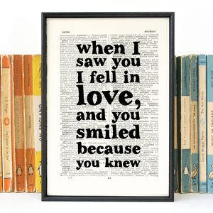 Wife To Be Gift 'When I Saw You' Quote Print - weddings