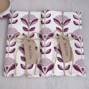 Set Of Two Abstract Dandelion Tea Towels