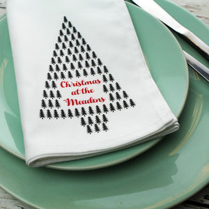 Personalised Christmas Mini Trees Napkin
