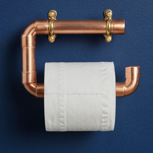 Industrial Copper Pipe Toilet Roll Holder - bathroom