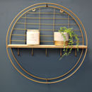 Round Gold Shelf With Hooks