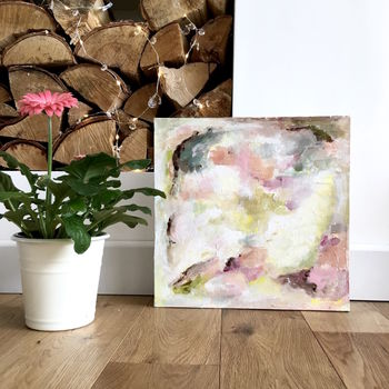 Contemporary Pastel Pink Green Abstract Painting