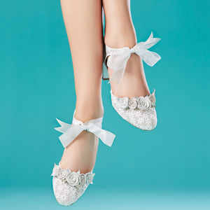 Florence Ivory Floral Block Heel Wedding Shoes - bridal shoes