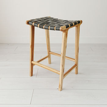 Natural Teak And Leather Stool