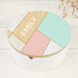 Personalised Round Geometric Patterned Jewellery Box