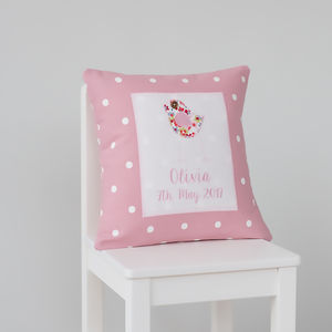 Personalised New Baby Little Bird Cushion - children's cushions