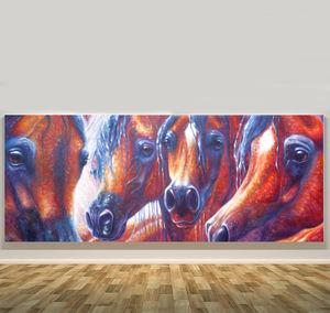 Arab Horses Wide Panoramic Oil Painting - animals & wildlife