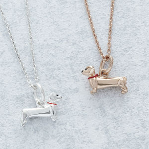 Daschund Pendant Necklace Silver Or Rose Gold