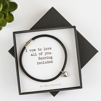 Personalised Funny Leather Bracelet For Fiance