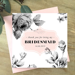 Vintage Inspired Floral Thank You Bridesmaid Card - thank you cards