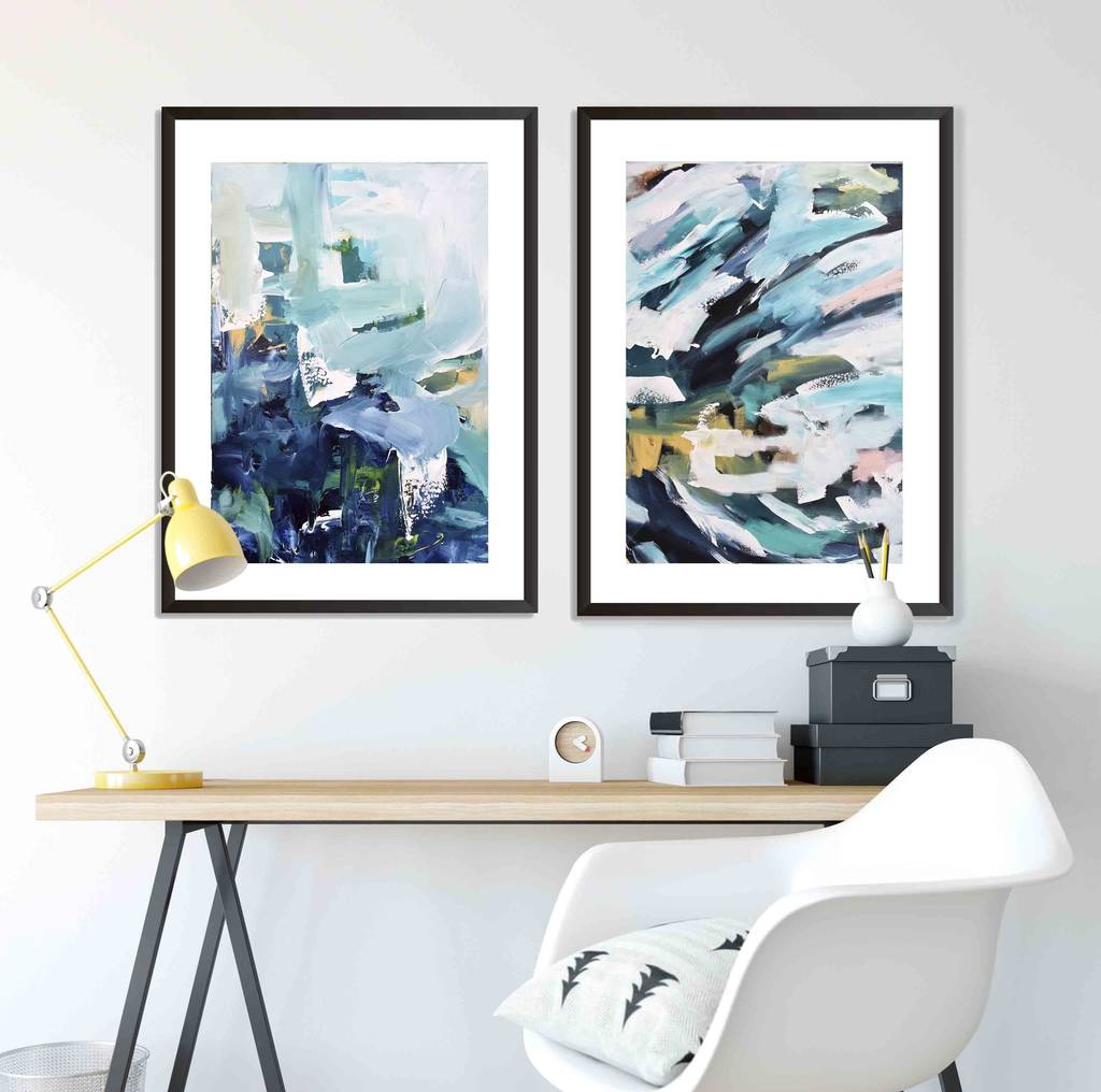 print set of two large framed wall art prints by abstract house ...