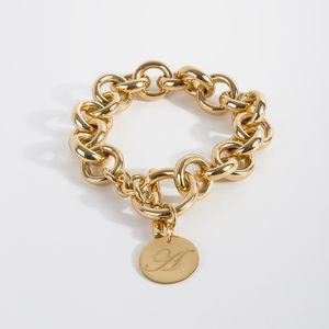 Chain Link Initial Disk Bracelet