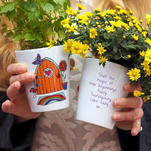 Autumn 'Fairy Door' Personalised Plant Pot With Seeds