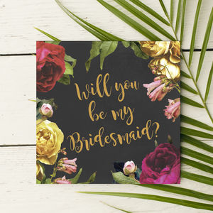 Vintage Roses Bridesmaid Invitation Card - be my bridesmaid?