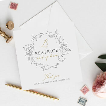 Personalised Maid Of Honour Card | Floral Wreath