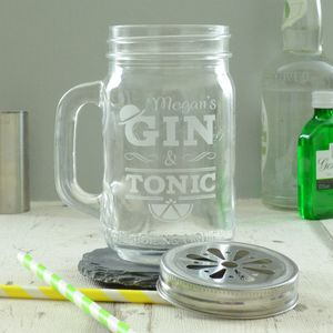Personalised Gin And Tonic Engraved Drinking Jar - jars