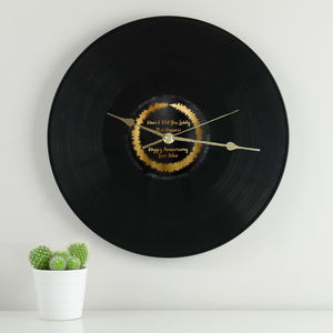 Personalised Sound Wave Loop Vinyl Clock - office & study