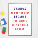 Personalised 'You're The Best' Card For Grandad