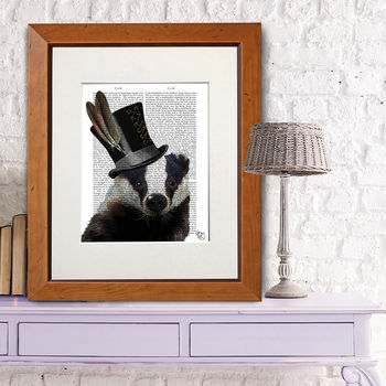 Badger In Top Hat, Book Print